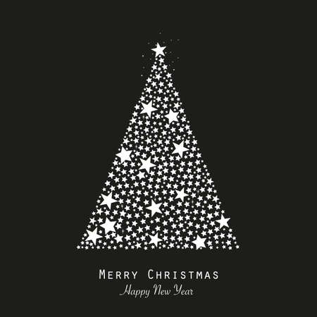 Made of shining red stars elegant gray colored Christmas tree vector illustration. Happy new year greeting card white background
