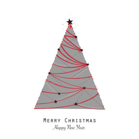 Made of shining red stars elegant gray colored Christmas tree vector illustration. Happy new year greeting card white background Banco de Imagens - 156426197