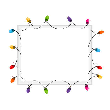 Colorful Christmas Light Bulb blank frame vector background