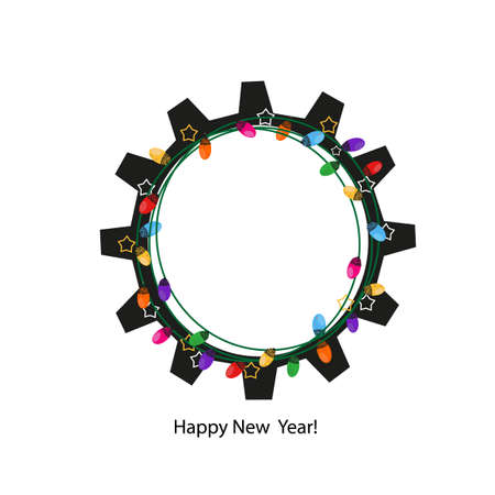 Gear wheel with colorful light bulb. For business life. Happy new year and merry Christmas greeting card