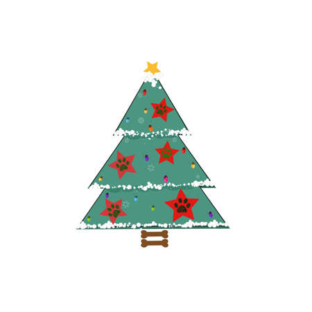 Christmas tree with red stars with paw prints. Happy new year and merry Christmas greeting card