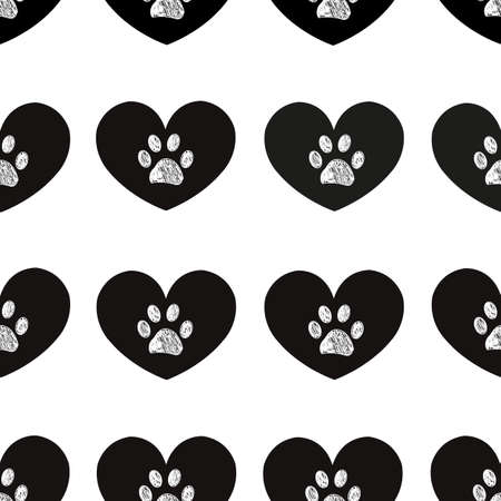 Cute black hearts and doodle white paws. Fabric design seamless pattern
