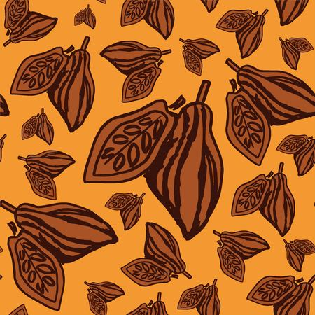Seamless colorful pattern with cacao fruits on yellow background