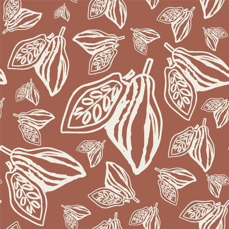 Seamless background with cocoa beans. Cute doodle illustration.