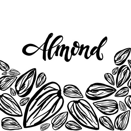 Seamless background with almonds. Cute doodle illustration.