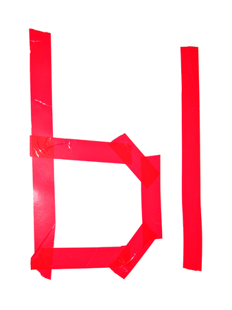 Cyrillic letter YI symbol made of insulating tape pieces, isolated on white background Banco de Imagens