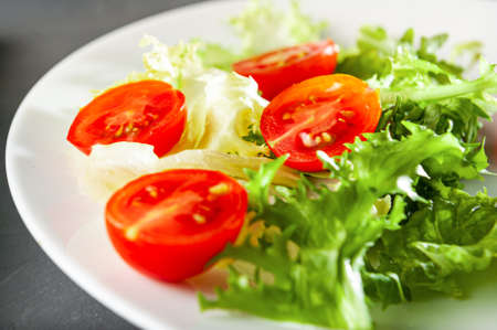 diet salad for weight loss and healthy eating, healthy lifestyle and right meals, salad with vegetables cherry tomatoes and quail eggs, Flat lay and top view