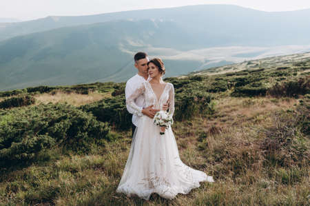 Newlyweds enjoy a wedding day in the mountains