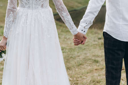The bride and groom hold hands against the backdrop of mountains Archivio Fotografico