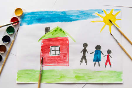 Childrens watercolor drawing, dream house, family, car, happiness