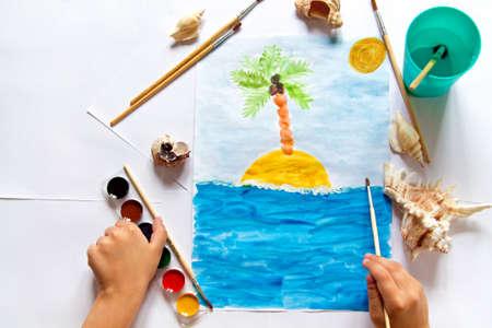 Childrens watercolor Stock Photo