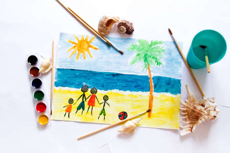 Kids painting of holiday landscape - Sea,sky and beach Stock Photo