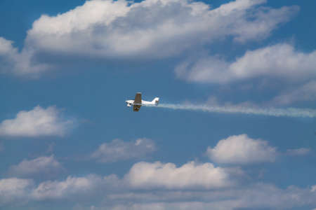 fungicide: Duster, small old plane for agricultural spraying, flying in the sky