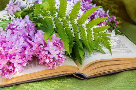 lilac, books and a Cup of tea on a bench