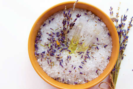 sea salt and flowers aromatic lavender oil Reklamní fotografie