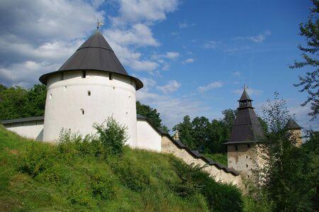 Wall of the Pechorsky monastery, Pskov region, Russia photo