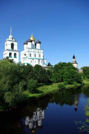 View on The Pskov Kremlin and Trinity Cathedral photo