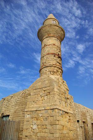 ceasarea: Beacon at Ceasarea, ancient Roman capital and port, Israel