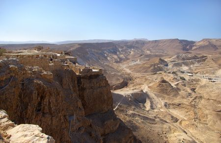 hebrews: View on Masada fortress and Judean desert, Israel