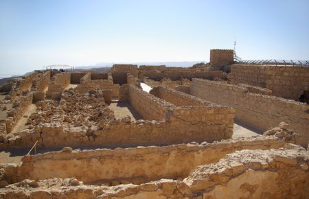 Ruins of warehouse in Masada fortress, Israel photo