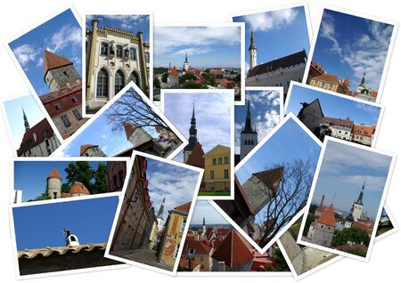 Old Tallinn in collage with several shots on white background