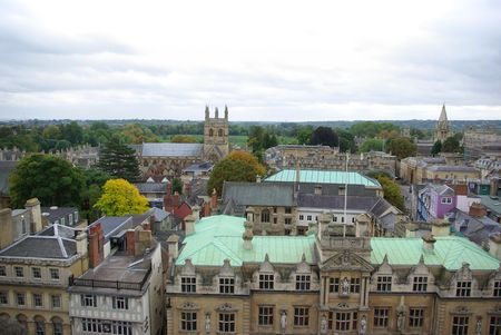 Top view on houses in Oxford, UK photo