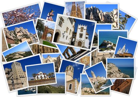 Traveling around Spain in collage with several shots on white background