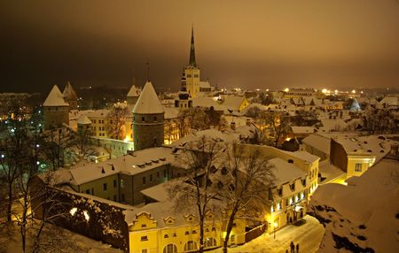 View on Tallin at night in winter