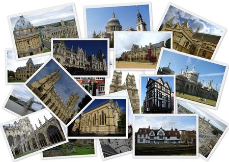 Traveling around England in collage with several shots photo