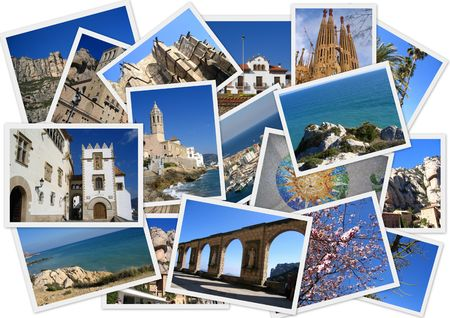 sagrada: Places in Spain in collage with several shots on white background