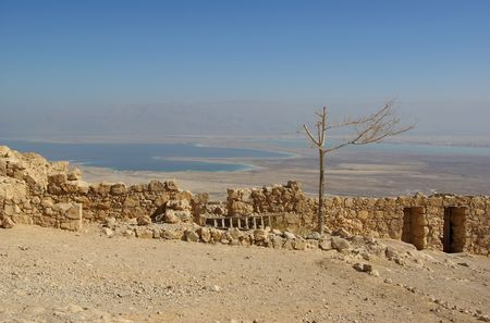 semite: View on Dead Sea from Masada fortress, Israel