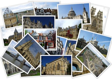 Traveling around England in collage with several shots on white background photo
