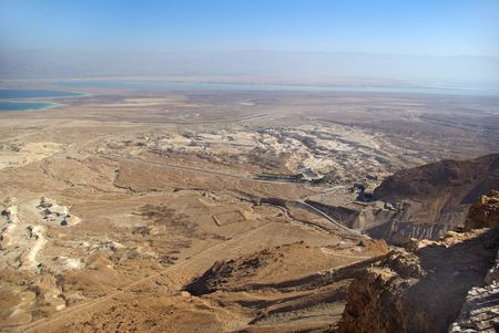 hebrews: View on Dead Sea from Masada fortress, Israel