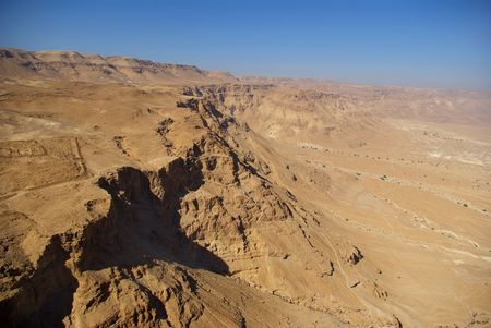 semite: View on Judean desert and Roman fortification ruins from Masada fortress, Israel