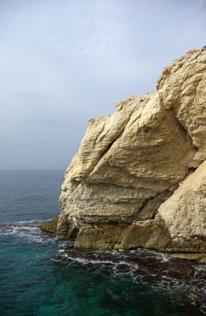 Sea and rocks in Rosh Hanikra, Israel photo