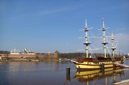 View on Novgorod Kremlin and Volkhov, Russia Stock Photo - 6854458
