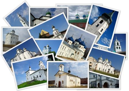 Collage with several shots of ancient orthodox churches on the north-west of Russia photo