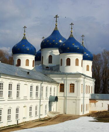 Cathedral at St`George monastery, Novgorod the Great, Russia photo
