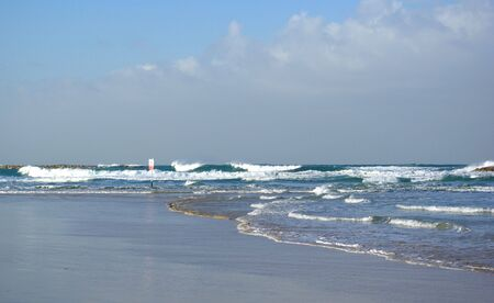The coast of Mediterranean sea, Tel Aviv. Israel photo