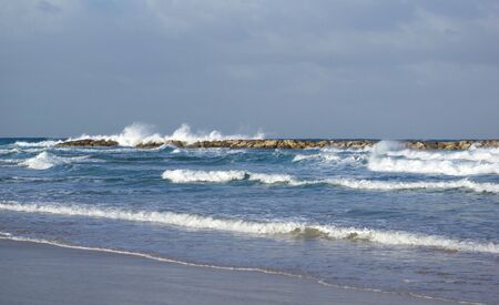 The coast of Mediterranean sea, Tel Aviv, Israel photo