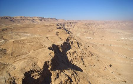 semite: View on Judean desert and roman fortification from fortress Masada, Israel Stock Photo