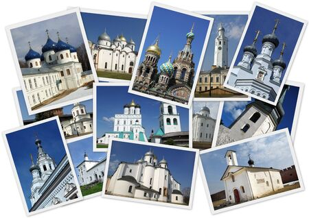 Collage with several shots with orthodox russian churches on white background photo