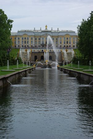Royal palace and fountains in Peterhof, Saint Petersburg, Russia photo