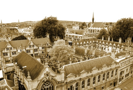 Top view on Oxford`s streets and houses, UK