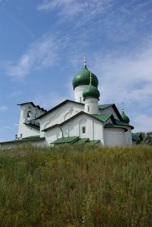 Old orthodox church on the hill, Pskov, Russia photo