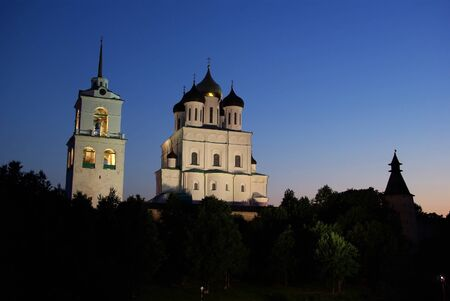 View on Trinity cathedral and Pskov Kremlin in the evening. Pskov. Russia photo