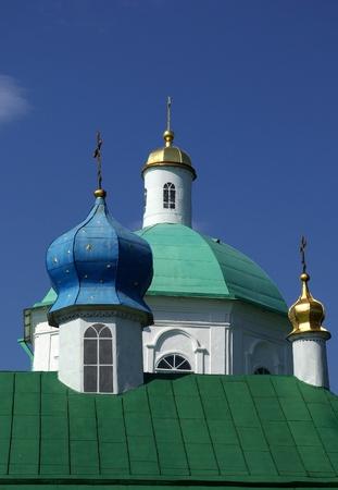 Domes of old orthodox church in Izborsk, Pskov region, Russia photo