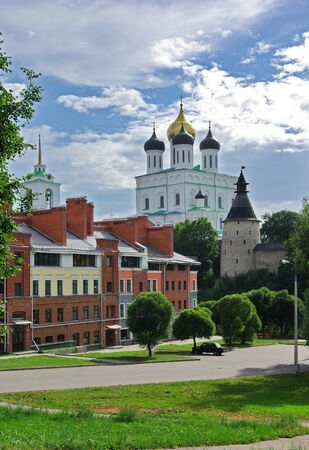 Trinity cathedral above city houses, Pskov, Russia photo