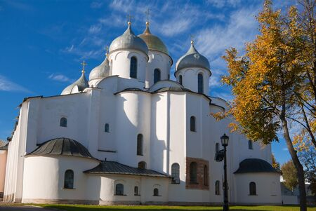St. Sophia Cathedral at Novgorod Kremlin in sunny autumn day, Russia photo