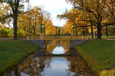 selo: Bridge across canal in Alexander s park in Tsarskoe Selo  Pushkin , Saint Petersburg, Russia Stock Photo